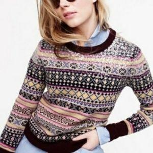 J CREW Sequin Fair Isle Lambs Wool Sweater Preppy